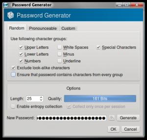 KeePassX Random Generation Options
