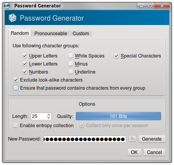 KeePassX Random Generation Options