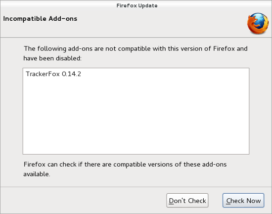 Incompatible Firefox add-on