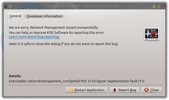 KDE application crash