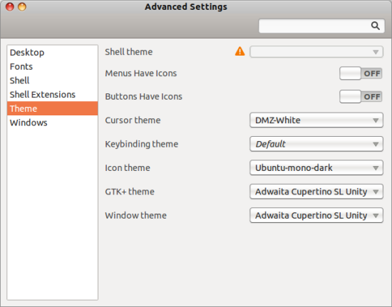 Gnome Advanced Settings 2 - theme change