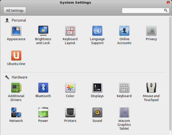 Gnome System Settings menu