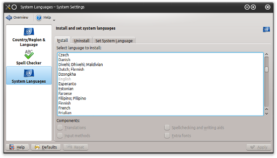 KDE new languages
