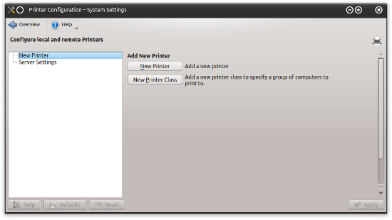 KDE add new printer
