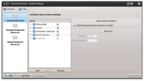 KDE shortcut settings