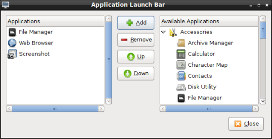 Add apps to panel