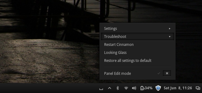 Cinnamon restart option