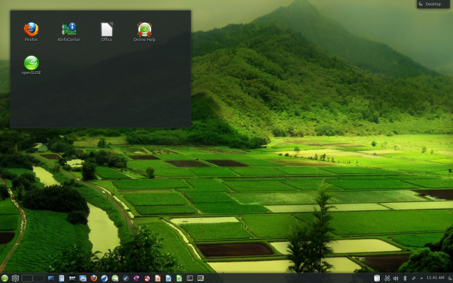 A beautiful KDE desktop, openSUSE 12.3