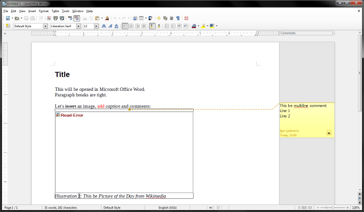 DOCX in LibreOffice, corrupt