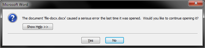 Serious error