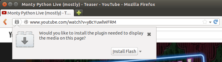 Flash plugin prompt