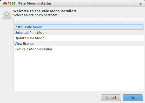 Pale Moon installer