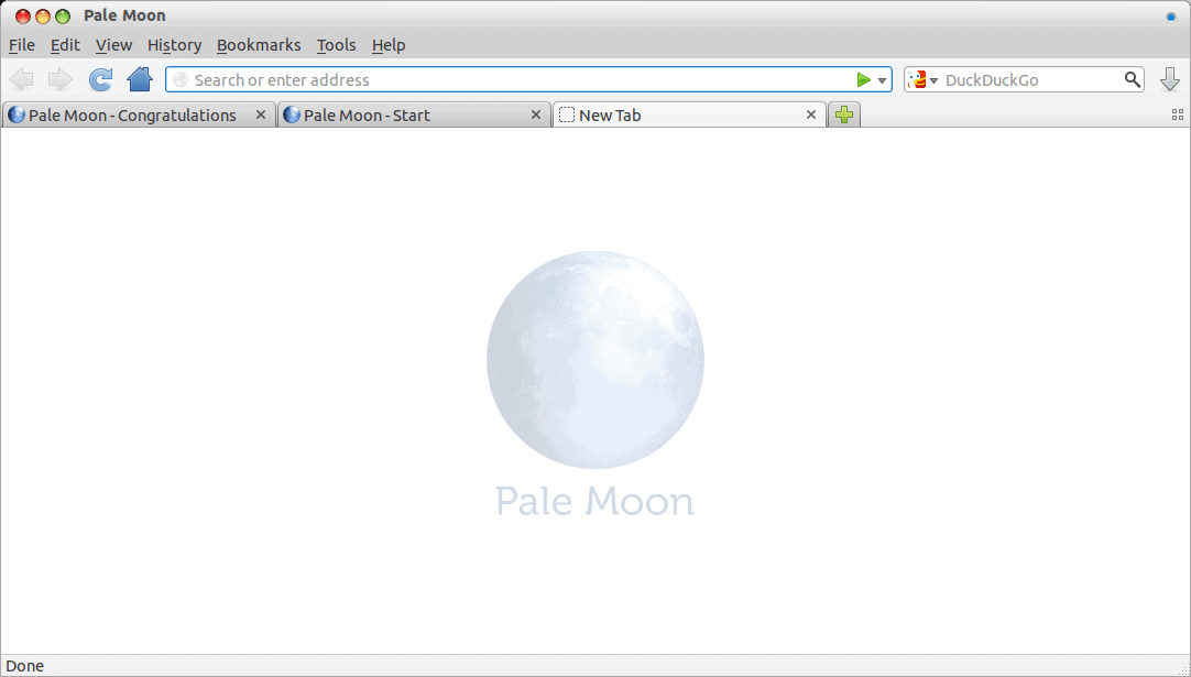 Pale Moon new tab page