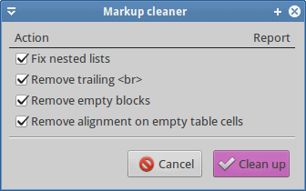 Markup cleanup