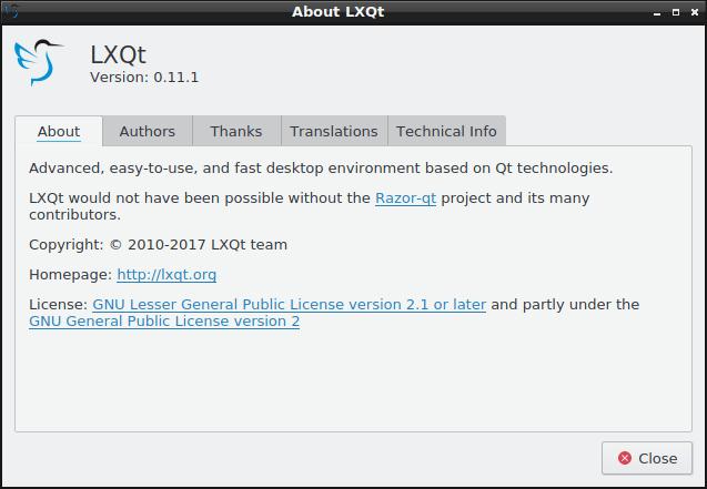 LXQt, 0.11, Fedora, about
