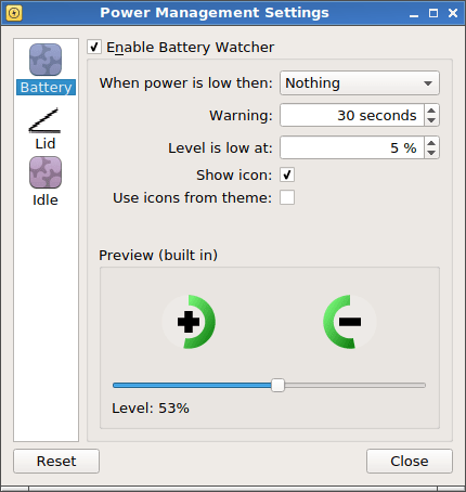 Power management settings